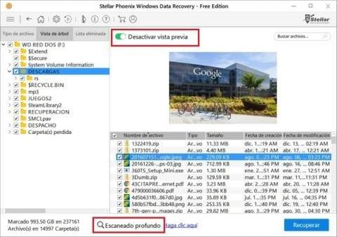 búsqueda de archivos borrados