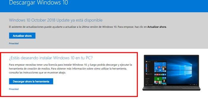 herramienta de descarga de windows 10
