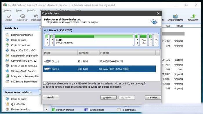 seleccionar el SSD de destino